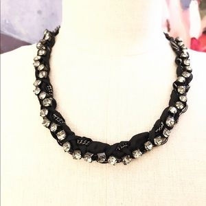 J. CREW black ribbon wrapped crystal necklace